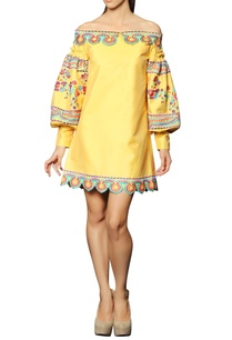 yellow-embroidered-off-shouldered-dress
