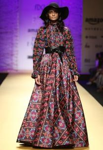 brown-long-multicolored-printed-skirt