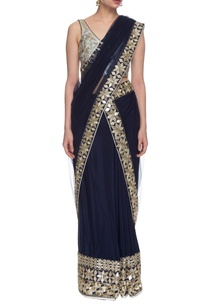 navy-blue-embroidered-two-piece-sari
