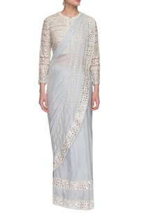 light-grey-embroidered-sari-jacket-blouse