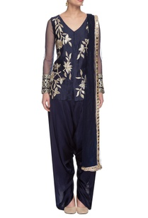 navy-blue-embroidered-kurta-dhoti-pants-set