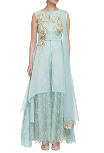 aqua-blue-embroidered-high-low-kurta-set