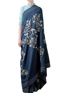 navy-blue-printed-embellished-sari