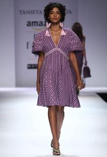 purple-lavender-v-neck-puff-sleeve-dress