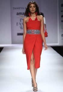red-textured-asymmetrical-tube-dress