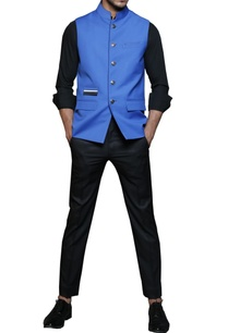 electric-blue-safari-nehru-jacket