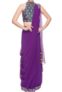 blue-purple-embellished-sari-set