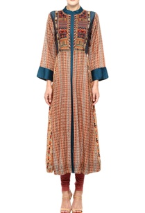 rust-blue-kurta-with-multi-coloured-thread-work
