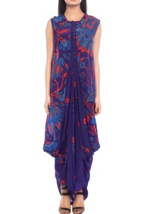 purple-printed-kurti-with-floral-prints