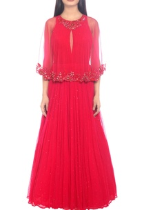 fuschia-cape-dress-with-embroidered-hems