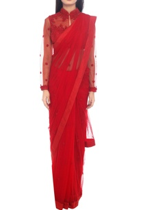 ruby-red-embroidered-sari-with-blouse