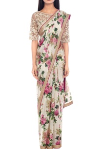 off-white-pink-floral-print-sari-with-blouse