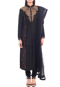 black-gold-embellished-kurta-set