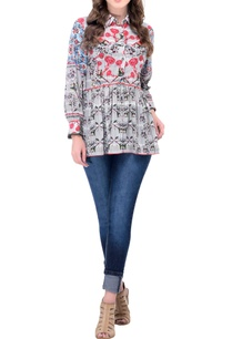 grey-floral-printed-collared-top