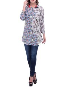 white-blue-red-floral-printed-shirt