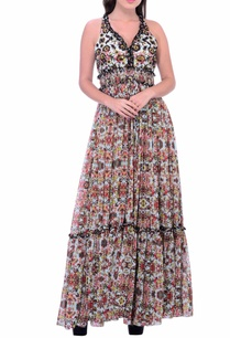 black-white-ochre-floral-maxi-dress