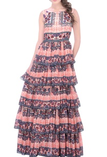 peach-layered-maxi-dress-with-motif-prints