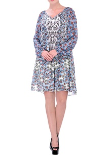 blue-pleated-dress-with-cherry-blossom-print