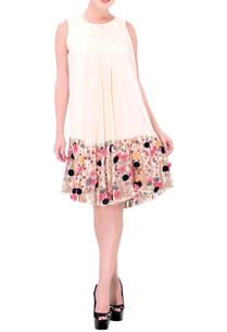 cream-pleated-dress-with-multi-coloured-embroidery
