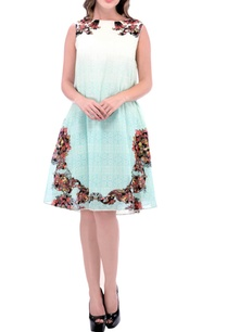 mint-blue-short-dress-with-multi-colored-floral-print