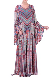 grey-kaftan-printed-maxi-dress-with-bell-sleeves
