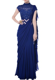 indigo-blue-embroidered-draped-gown