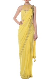 bright-yellow-embellished-sari