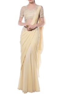 light-yellow-off-shouldered-embroidered-sari-gown