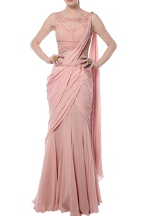 light-pink-embroidered-sari-gown