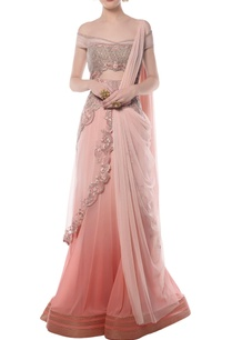 light-pink-embroidered-off-shouldered-sari-gown