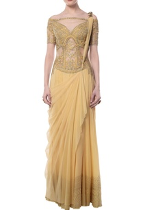 yellow-embroidered-draped-sari-gown