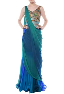 teal-green-cobalt-blue-shaded-brocade-sari-gown