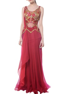 deep-red-shaded-brocade-sari-gown