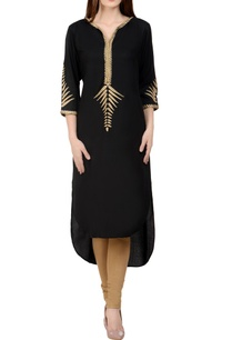 black-beige-embroidered-kurta-set