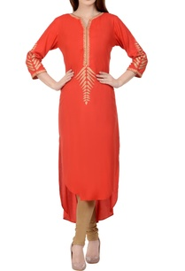 coral-red-beige-embroidered-kurta-set