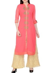 coral-pink-beige-embroidered-kurta-set