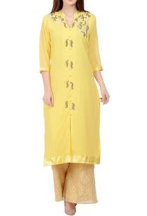 yellow-beige-embroidered-kurta-set