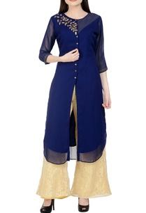 navy-blue-beige-embroidered-kurta-set