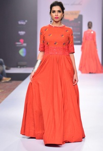 orange-mirror-thread-embroidered-dress