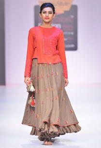 grey-floral-thread-embroidered-skirt