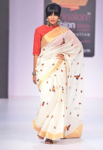 white-floral-sari-with-gold-border