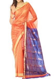 orange-blue-motif-chanderi-silk-sari