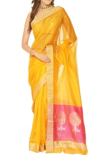yellow-pink-floral-motif-chanderi-silk-sari