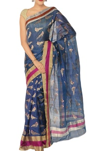 deep-blue-gold-parrot-moitf-chanderi-silk-sari