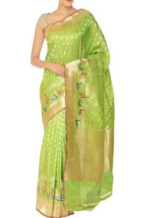 lime-green-gold-peacock-motif-banarasi-silk-sari