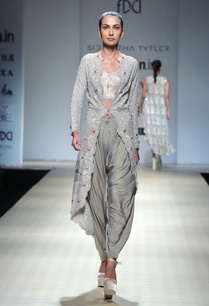metallic-silver-textured-draped-pants