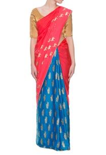 red-blue-horse-print-sari