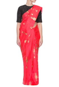 red-sari-with-golden-multi-prints