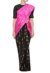 black-pink-parrot-print-sari