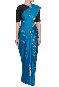 blue-sari-with-multiple-print-patterns